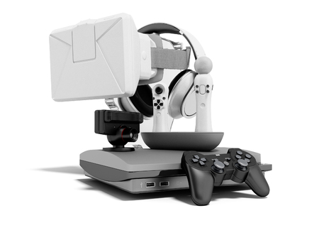 Group of game consoles for entertainment 3d render on white background with shadow