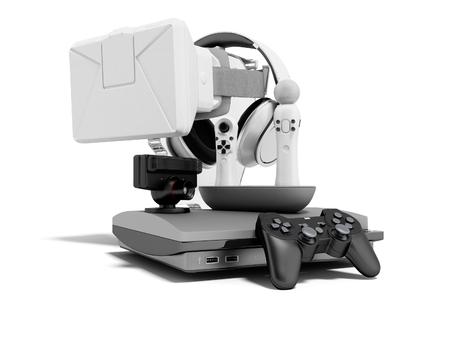 Grupo de consolas de juegos para entretenimiento 3D Render sobre fondo blanco con sombra Foto de archivo