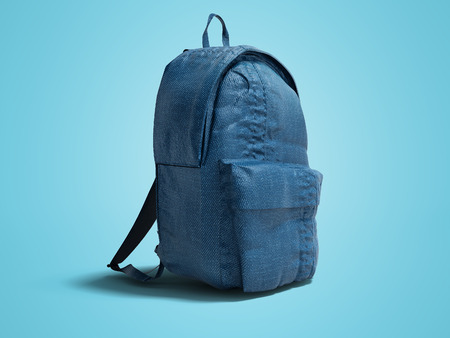 Modern blue backpack with cloth for teenager 3d render on blue background with shadow
