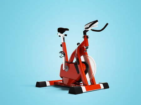 Modern red cycling trainer with front axle 3d render on blue background with shadow Stock Photo - 122669794