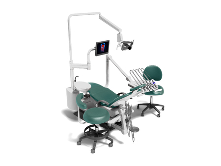 Modern dental equipment with an electric chair monitor and drill attachments 3d render on white foam with shadow Фото со стока