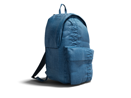 Modern blue backpack with cloth for teenager 3d render on white background with shadow Stock Photo