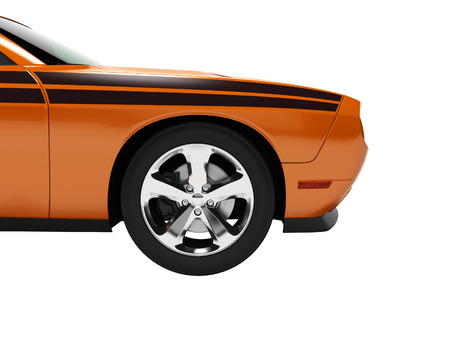 Modern concept orange sports car front 3d render on white background no shadow Stockfoto