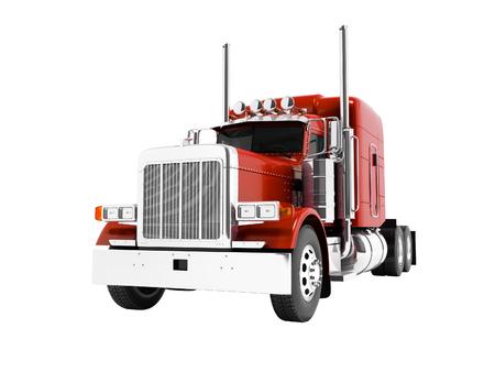 Camion à benne basculante rouge moderne pour le transport de remorques rendu 3d sur fond blanc sans ombre