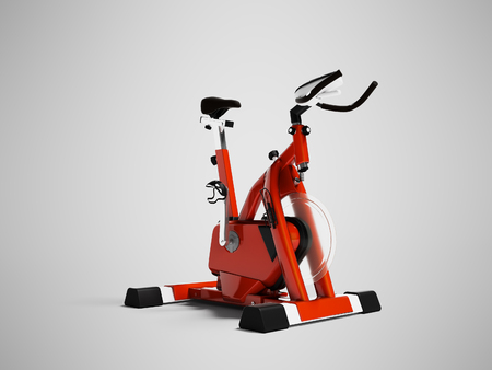 Modern red cycling trainer with front axle 3d render on gray background with shadow Stock Photo