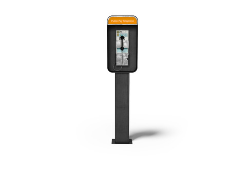 Concept metal telephone booth with payment of money 3d render on white background with shadow