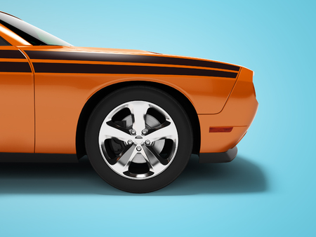 Modern concept orange sports car front 3d render on blue background with shadow