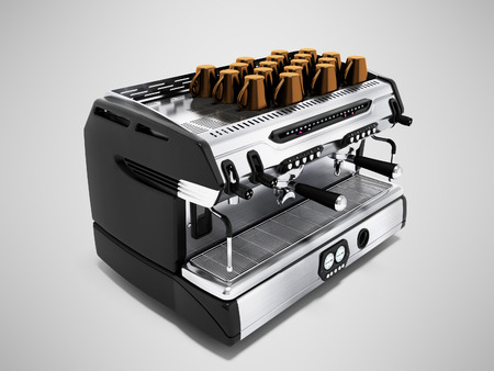Modern metal coffee machine on chotry cup with set of 3d render cups on gray background with shadow