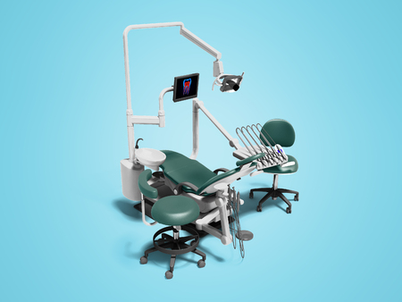 Modern dental equipment with an electric chair monitor and drill attachments 3d render on blue foam with shadow 版權商用圖片 - 122670145
