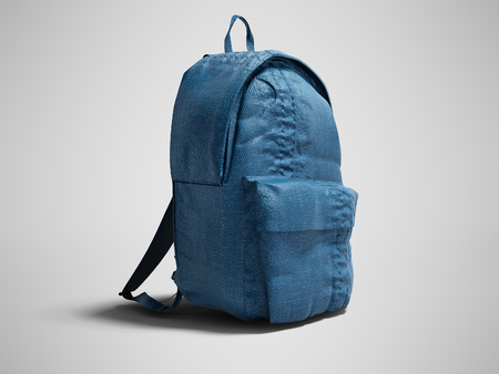 Modern blue backpack with cloth for teenager 3d render on gray background with shadow Stock Photo