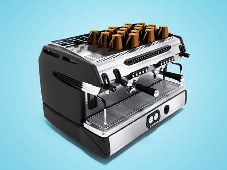 Modern metal coffee machine on chotry cup with set of 3d render cups on blue background with shadow