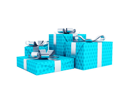 Modern four blue gifts tied on bow 3d render on white background no shadow Stok Fotoğraf
