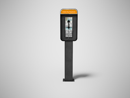 Concept metal telephone booth with payment of money 3d render on gray background with shadow