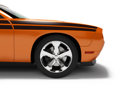 Modern concept orange sports car front 3d render on white background with shadow Stockfoto