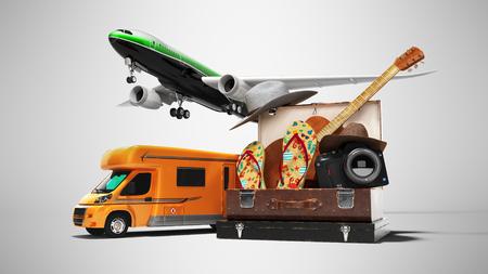 Konzept-Set für Touristen-Chimond-Hausschuhe-Kamera für Flugreisen oder Autos 3D-Renderer auf grauem Hintergrund mit Schatten