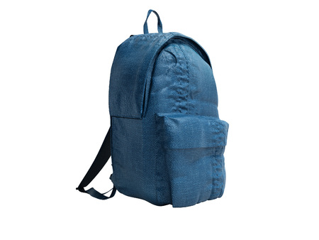 Modern blue backpack with cloth for teenager 3d render on white background no shadow