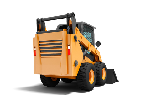 Modern orange mini loader on the back with black 3d rider on white background with shadow Stockfoto