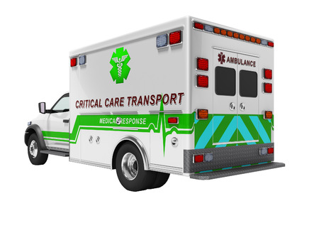 Modern concept of ambulance with green 3d render inserts on white background no shadow