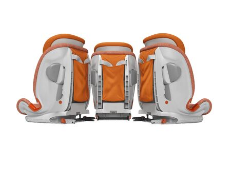 Orange car seat three pieces rear view 3d render on white background no shadow