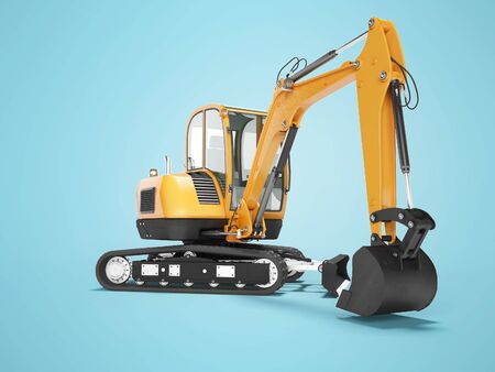 Orange mini crawler excavator on rubber tire with turned cabin to the left 3d render on blue background with shadow