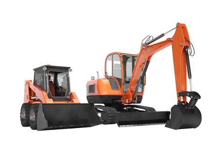 Orange mini excavator tracked on rubber run and mini loader on wheels rendering 3d render on white background no shadow Imagens