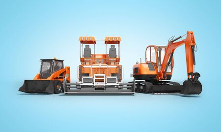 Group of orange heavy machinery bobcat excavator asphalt paver with bucket 3d render on blue background with shadow