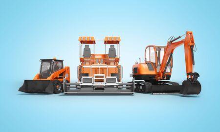 Gruppe von orangefarbenen Schwermaschinen Bobcat Bagger Asphaltfertiger mit Eimer 3D-Render auf blauem Hintergrund mit Schatten