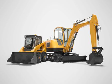 Orange mini crawler excavator and mini loader isolated 3d render on gray background with shadow