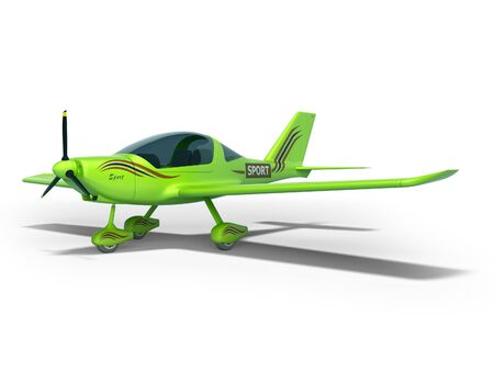 Green light plane 3d render on white background with shadow