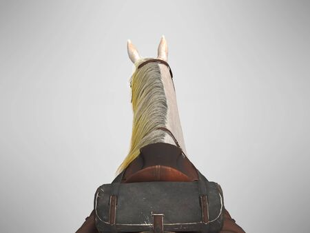 White horse with bridle back view from above 3d render on gray background with shadow