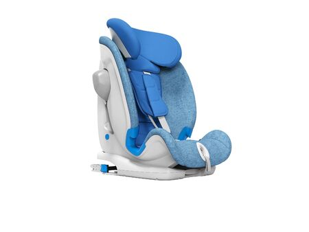 Blue baby seat for the car 3d render on white background no shadow
