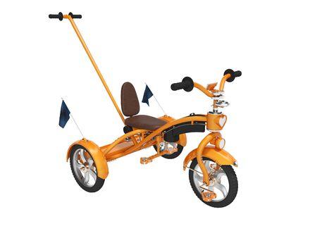 Orange childrens bike with telescopic handle for parents 3d render on white background no shadow Standard-Bild