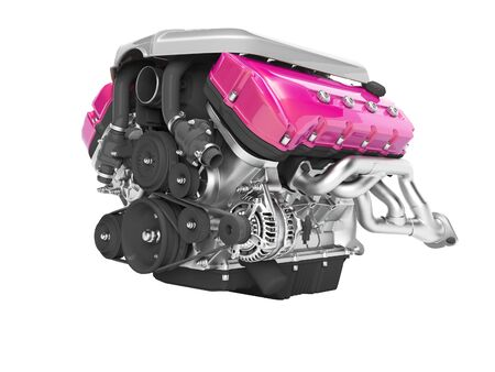 Car engine cast iron magenta with starter isolated 3d render on white background no shadow
