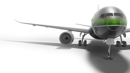 Passenger turbocharged aircraft with green insert 3d render on white background with shadow