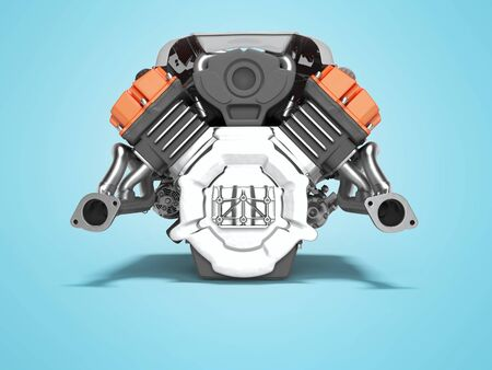 Car engine red isolated rear view 3d render on blue background with shadow Stockfoto