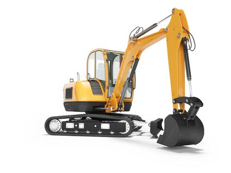 Orange mini crawler excavator on rubber tire with turned cabin to the left 3d render on white background with shadow