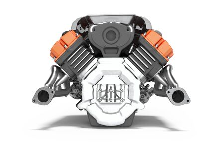 Car engine red isolated rear view 3d render on white background with shadow Stockfoto