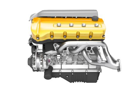 Car engine cast iron yellow with starter left view 3d render on white background no shadow