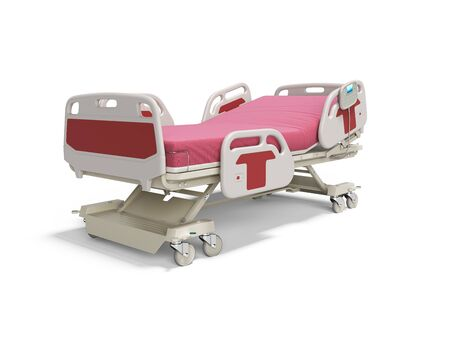 Concept red hospital bed semi automatic isolated 3d render on white background with shadow 免版税图像
