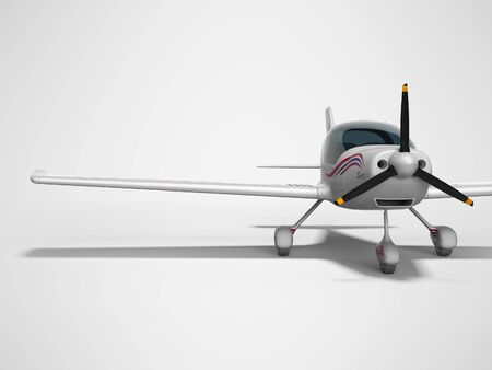 White light aircraft for two passengers 3d render on gray background with shadow Stok Fotoğraf