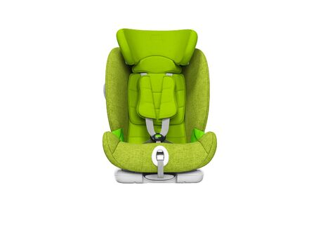 Green child seat for car front view 3d render on white background no shadow 免版税图像