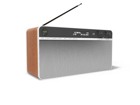 Classic radio with big speaker and wooden inserts 3d render illustration on white background with shadow