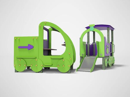 Green purple car and train playground for children with slide 3d render on gray background with shadow