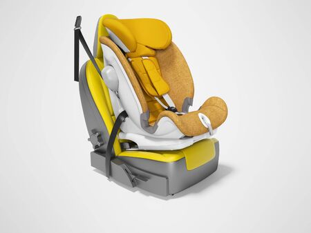 Orange baby car seat with isofix on yellow car seat 3d render on gray background with shadow
