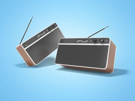 Classic radio with big speaker dancing 3d render illustration on blue background with shadow