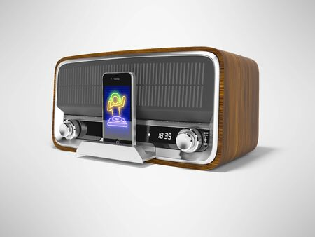 Concept classic portable speaker for listening to music from smartphone 3d render illustration on gray background with shadow