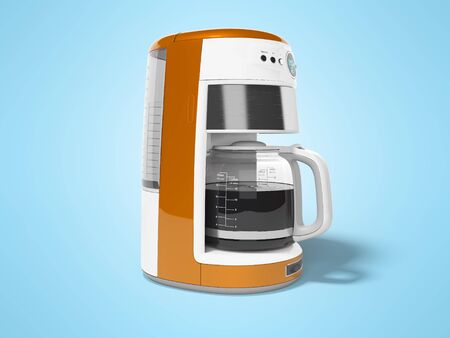 Orange drip coffee maker with kettle of glass 3d render illustration on blue background with shadow