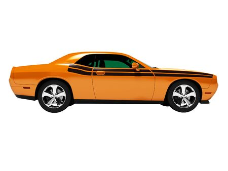 Sports orange coupe 3d render on white background no shadow