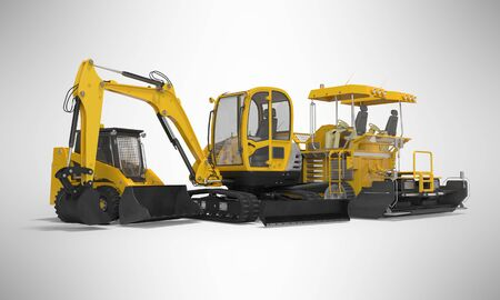 Yellow group of heavy machinery excavator mini paver loader 3d illustration on gray background with shadow Stock Photo