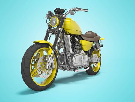 Yellow motorbike on two places front view 3d render on blue background with shadow 免版税图像